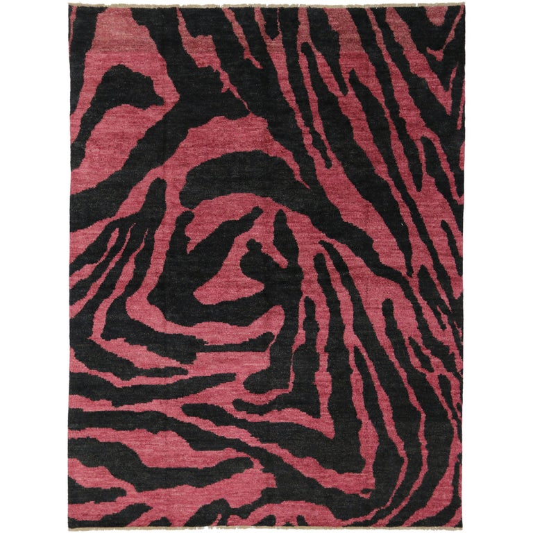 Contemporary Red Pink And Black Zebra Print Rug Moroccan Style For