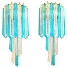 Pair of Blue and Clear Murano Glass  Sconces by Venini