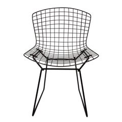 16 Original Vintage Harry Bertoia for Knoll Black Wire Side Chairs, Circa 1960