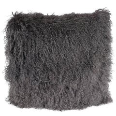 Custom Handmade Mongolian Lamb Pillow in Slate Gray with Cashmere Wool Back