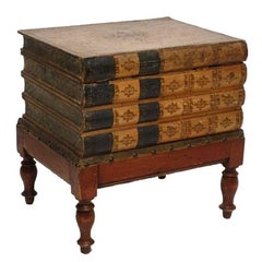 Leather Book Box Side Table or Stand, England, 19th Century