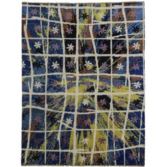 New Contemporary Moroccan Rug with Abstract Expressionism Radial Starburst Style
