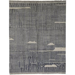Contemporary Moroccan Style Gray Rug with Abstract Design