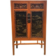 Chinese Antique Honey Cabinet with Fine Carvings