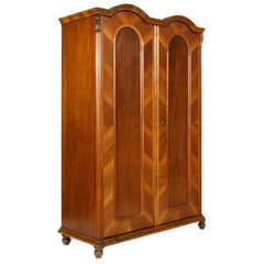 Antique Biedermeier Cupboard, Bookcase in Massive Walnut and Veneered Walnut