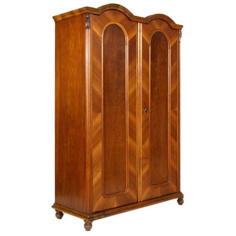 Antique Biedermeier Cupboard, Bookcase in Massive Walnut and Veneered Walnut