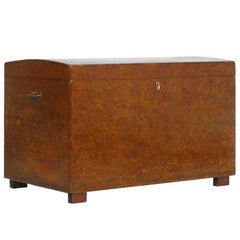 1850s Antique Traveling Trunk Chest in Solid Wood Restored and Polished to Wax