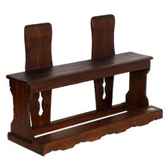 19th Century Wedding Kneeler Bench in Solid Wood Restored and Polished to Wax