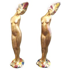 Early 20th Century Couple of Female Figurines by Faenza and Bucci