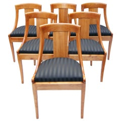 19th Century Biedermeier Gondola Chairs Set of 6, solid Cherry, new upholstered