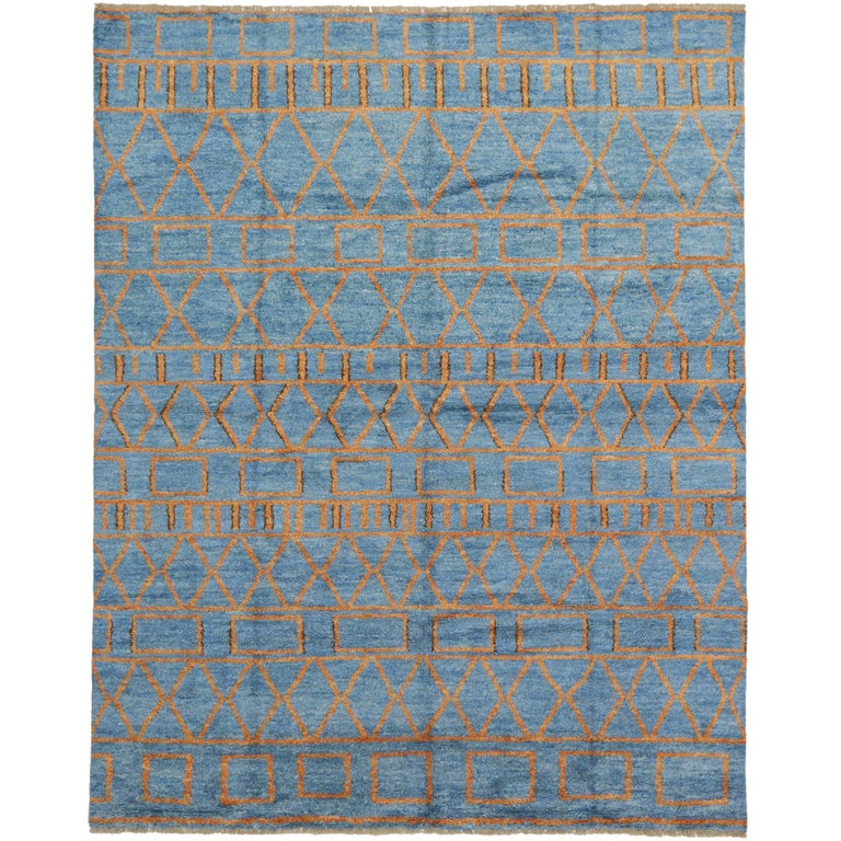 Orange And Blue Moroccan Style Rug With Modern Design For