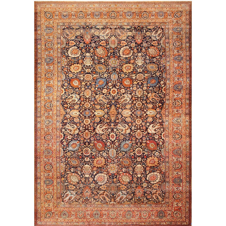 Large Oversized Navy Blue Antique Persian Tabriz Rug For Sale