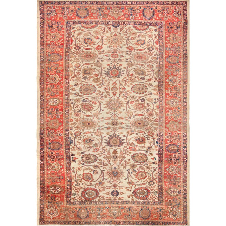 Large Ivory Antique Persian Sultanabad Rug For