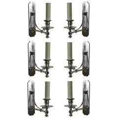 Set of Six Silver Library Lights