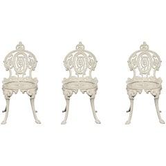 Set of Three Cast Iron Garden Chairs
