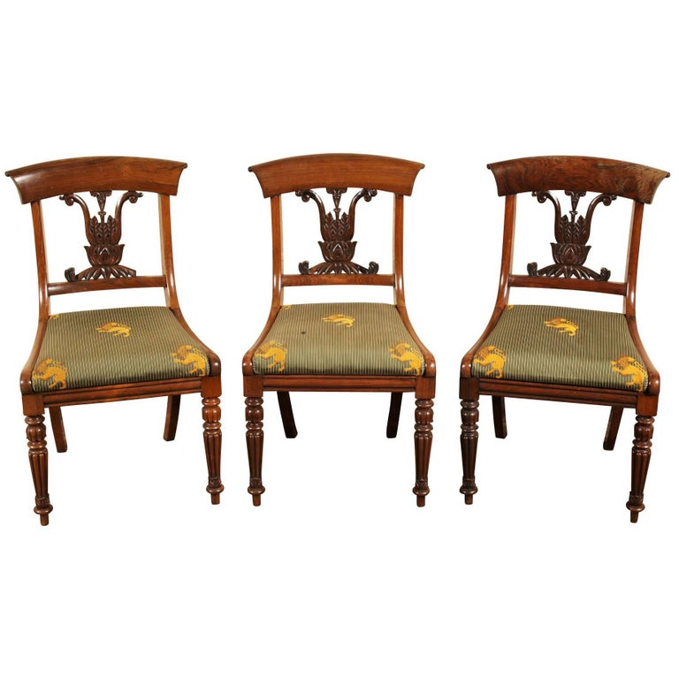 Set of Three Regency Rosewood Side Chairs