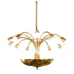 Elegant Italian Brass Chandelier, 1950s