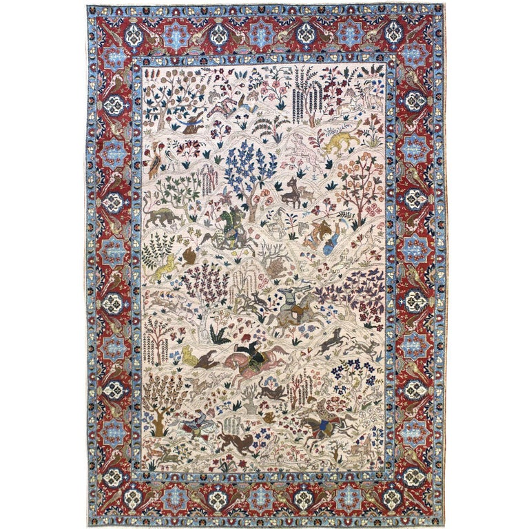 Persian Tabriz Hunting Carpet