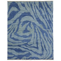 Contemporary Moroccan Rug with Blue Abstract Design
