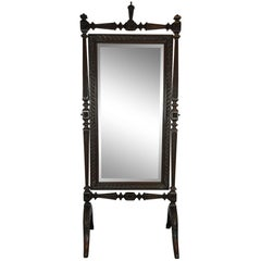 Carved French Cheval Dressing Mirror, circa 1880