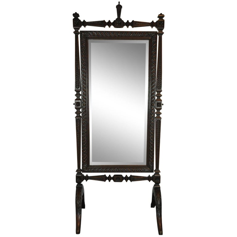 Carved French Cheval Dressing Mirror, circa 1880 For Sale