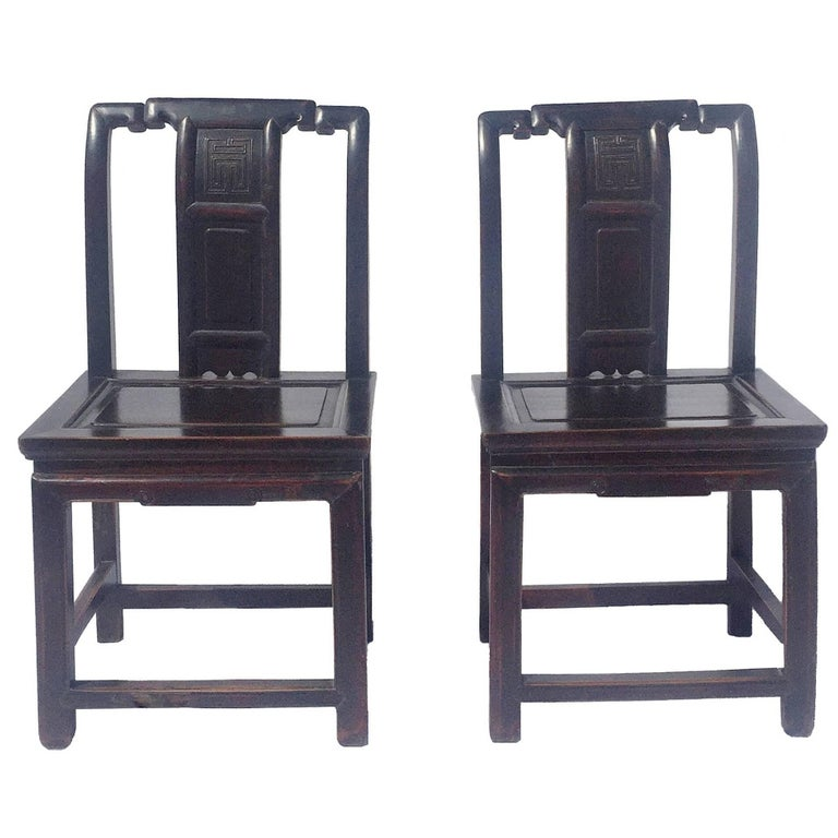 Pair of Chinese Antique Chairs with Longevity Motif For Sale - Pair Of Chinese Antique Chairs With Longevity Motif For Sale At 1stdibs