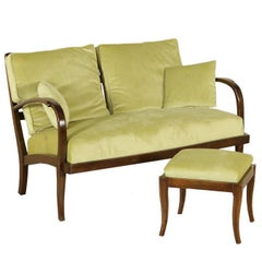 Sofa with Pouf Stained Beech Springs Fabric Manufactured in Italy, 1940s