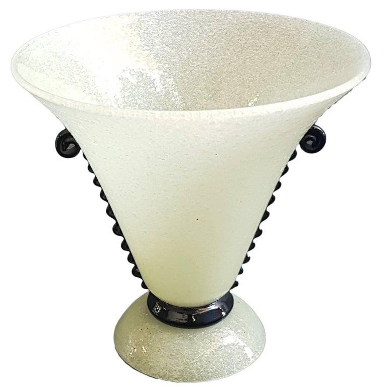 1930s Murano Pulegoso Glass Vase