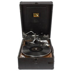 Antique Portable HMV Gramophone Mod 102 Black, circa 1935