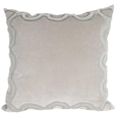 Custom Handmade Dove Gray Pillow with Embroidered Circular and Geometric Forms
