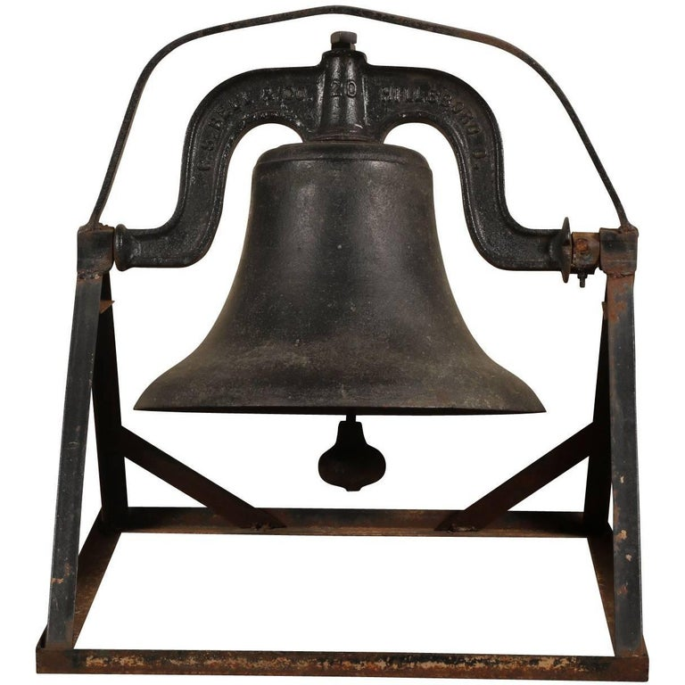 Antique C.S. Bell & Co. Cast Iron Bell on Stand For Sale