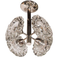Mid-Century Modern Chrome Chandelier with Abstracted Floral Shades, J.T. Kalmar