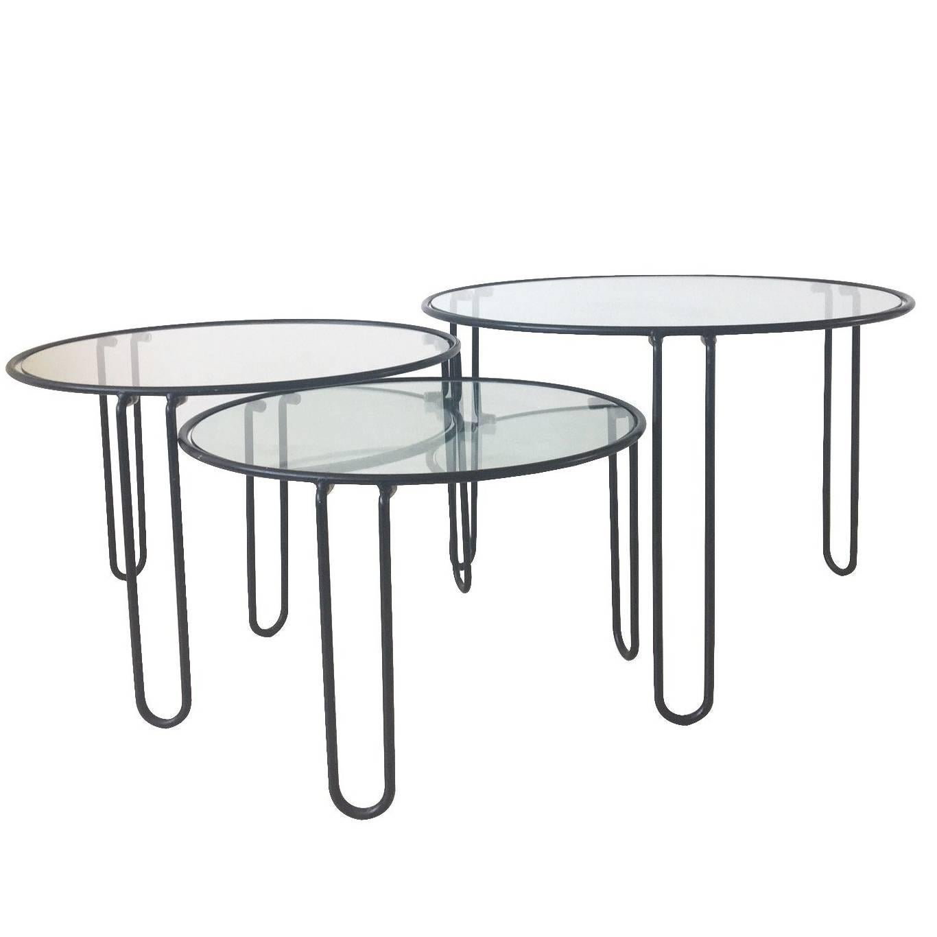 set of three midcentury metal and glass black coffee tables with hairpin legs