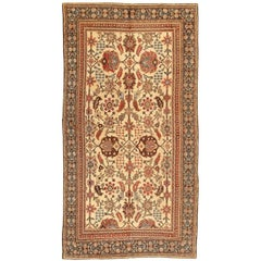 Long and Narrow Ivory Antique Indian Agra Rug