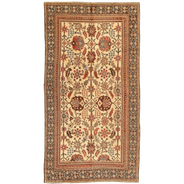 Antique Cotton Agra Rug With Abrash Circa 1900 For Sale: Long And Narrow Ivory Antique Indian Agra Rug For Sale At