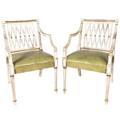 Pair of Painted Regency Style Armchairs