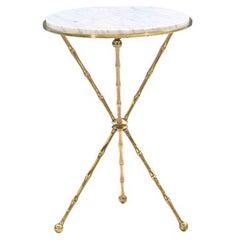 Italian Faux Bamboo Tripod Side Table with Carrara Marble Top