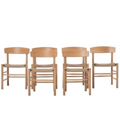 Danish Modern Woven Shaker Style Cord Seat Dining Chairs Six by Børge Mogensen