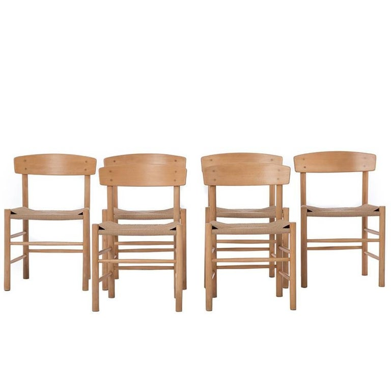 Danish Modern Woven Shaker Style Cord Seat Dining Chairs Six By