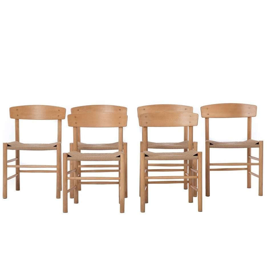 Danish Modern Woven Shaker Style Cord Seat Dining Chairs Six By Børge  Mogensen For Sale