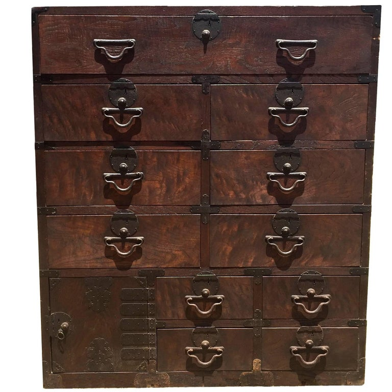 Vintage Japanese Tansu Chest with 11 Drawers