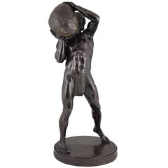 Antique Bronze Sculpture Male Nude Athlete by Paul Leibküchler, 1910 H. 26 inch