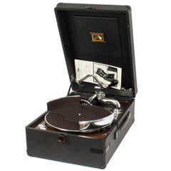 Antique Portable HMV Gramophone Mod 102 and Disc Carrier, 1935