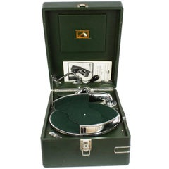 Antique Portable HMV Gramophone Mod 102 Green with Disc Carrier, 1934