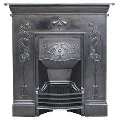 Antique Early 20th Century Art Nouveau Cast Iron Combination Fireplace