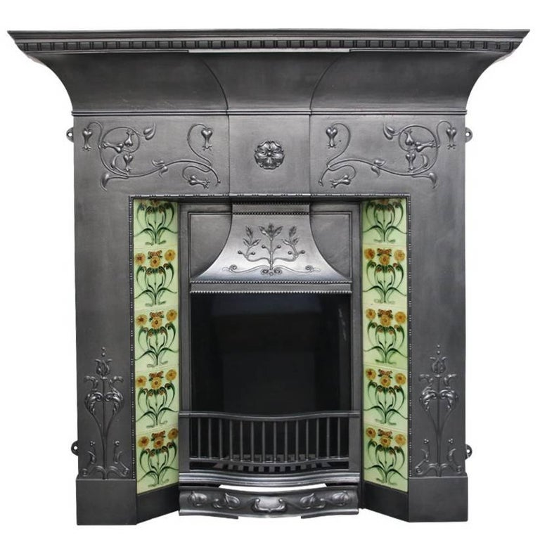 Large Antique Edwardian Art Nouveau Cast Iron Combination Fireplace For Sale