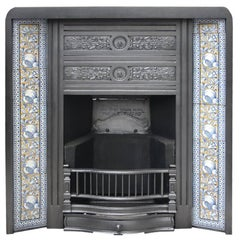 Reclaimed Antique Victorian Cast Iron and Tiled Fireplace Insert