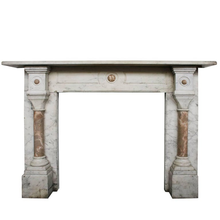 Large Antique Pillared Late Victorian Carrara Marble Fireplace Surround