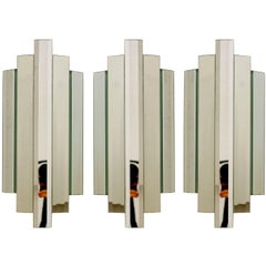Set of Three Large Sculptural Mirror Glass Wall Flush Mounts Sconces, 1960s