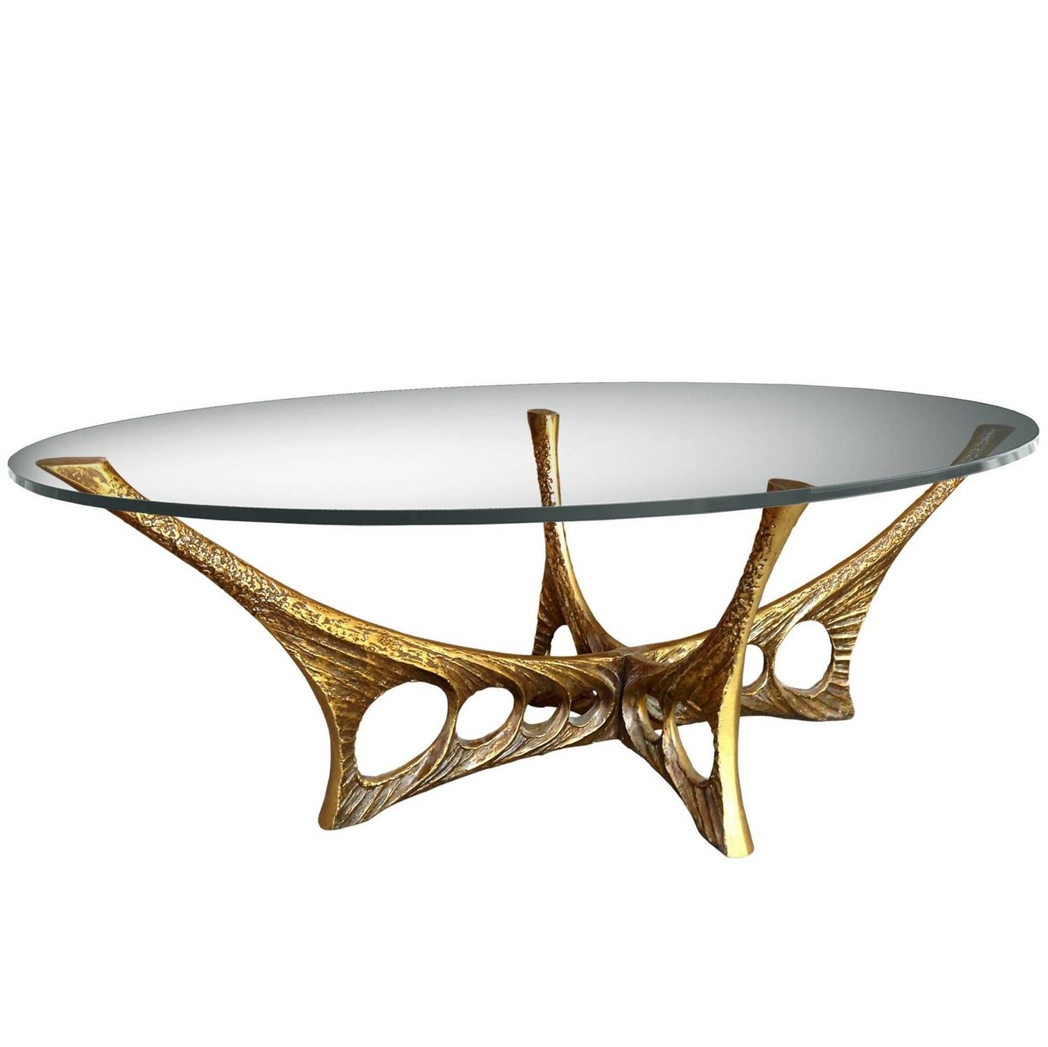 French Brutalist Coffee Table with Glass Top by Willy Ceyssens For